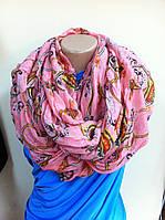 Хлопковый снуд  шарф розовый в орнамент 170*95