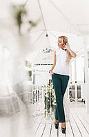 Модные женские зеленые брюки на змейке с карманами. АРТ-1674/25