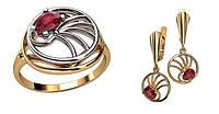 Женский комбинированный ювелирный комплект 585* пробы из красного и белого золота