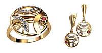 Круглый ювелирный комплект 585* пробы из красного золота с Фианитами