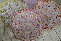 Детский зонт матовая клеенка с рисунком, свистком в ассортименте