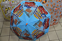 Детский зонт матовая клеенка с рисунком Тачки, свистком в ассортименте