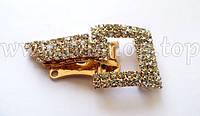 Шубный крючок-застежка 4,0 см, под золото, квадратная, со стразами