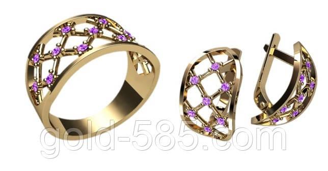 Золотой ювелирный комплект 585  пробы в виде сеточки с камнями - Мастерская  ювелирных украшений « 051fb954435