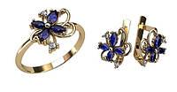 Прелестный женский ювелирный комплект из золота 585* пробы с Фианитами