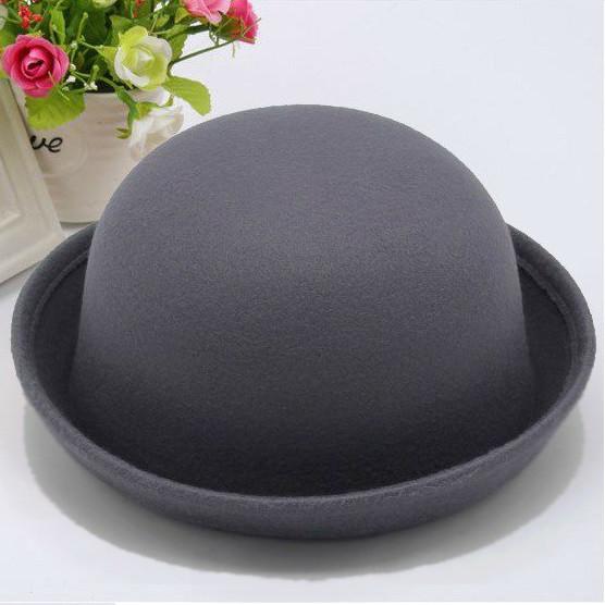 Шляпа женская фетровая котелок серая