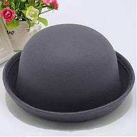 Шляпа женская фетровая котелок серая, фото 1