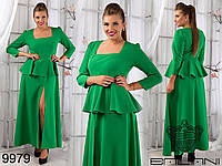 Вечернее платье с баской в пол БАТ 308 (ат1077)