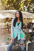 Стильный женский кардиган ткань двусторонний неопрен цвет серый с зеленым