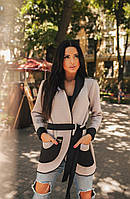 Стильный женский кардиган ткань двусторонний неопрен цвет бежевый с черным