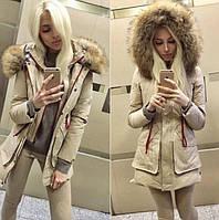 Стильная женская куртка  с капюшоном мех  енот и накладными карманами