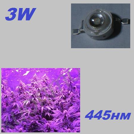 Фито светодиод для растений синий 3W, 445нм, фото 1