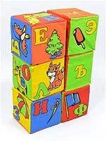 Кубики азбука с картинками мягкие 6 шт