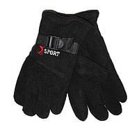 Мужские флисовые двойные перчатки черные - №16-6-3