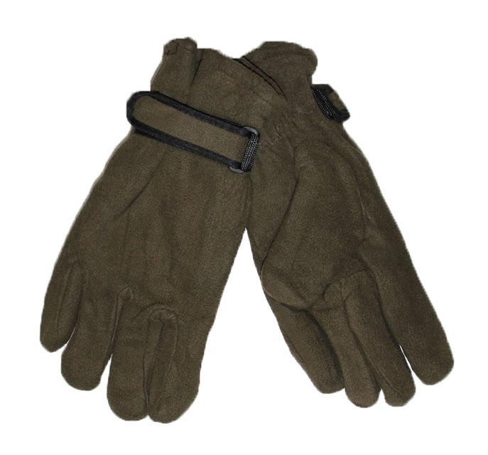 Мужские флисовые двойные перчатки цвета хаки - №16-6-4