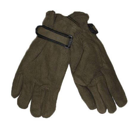 Мужские флисовые двойные перчатки цвета хаки - №16-6-4, фото 2