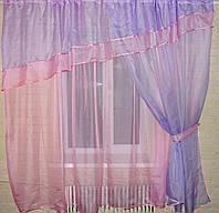 Комплект ламбрекен, гардина и шторка №18 Цвет сиреневый с розовым