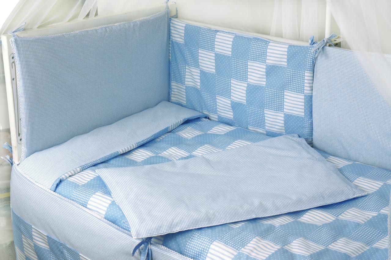 """Детский постельный набор в кроватку 120х60см 4 предмета голубой Клеточка ТМ """"РУНО"""""""