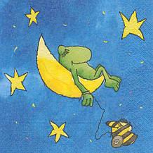 Рідкісна декупажна серветка Жаба спить на місяці 6238