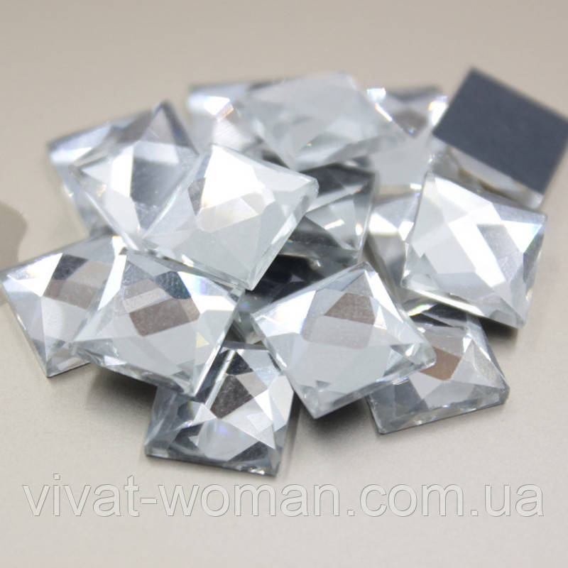 Стразы клеевые, Квадрат 8х8 мм, Crystal