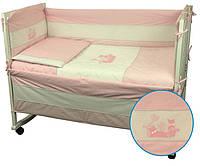 """Детский постельный набор в кроватку 120х60см 4 предмета розовый Котята ТМ """"РУНО"""""""