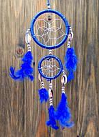 Ловец снов из 2 кругов с каури синий