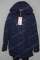 Теплая  зимняя женская куртка на замке с капюшоном синяя