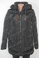 Теплая  зимняя женская куртка на замке с капюшоном черная