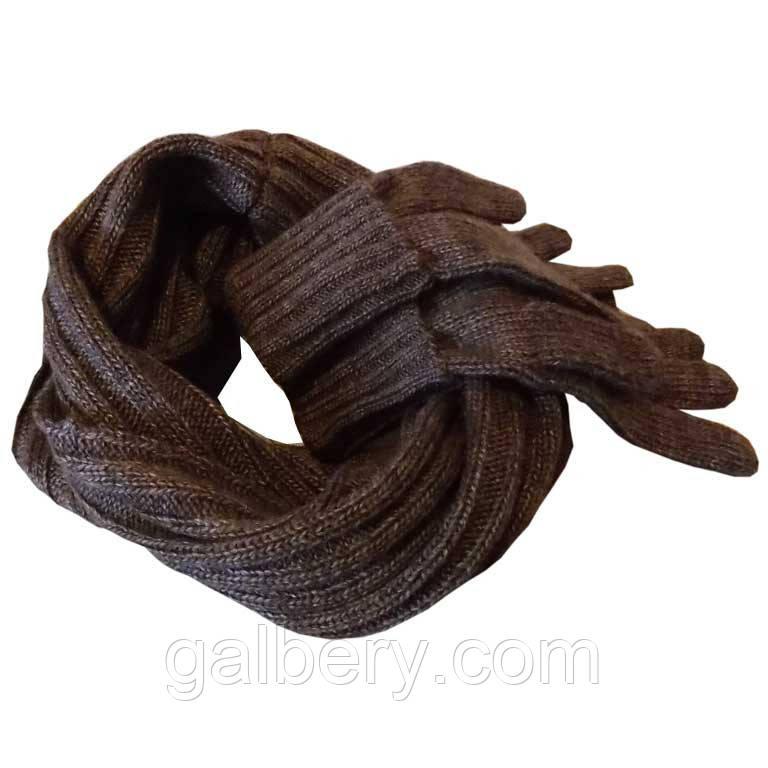 В'язаний зимовий шарф - труба і в'язані рукавички