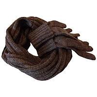 Вязаный зимний шарф - труба и вязаные перчатки