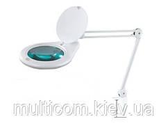 14-00-055. Лупа-лампа на струбцине, люмин. подсветка T5 28W, увеличение-3Х, диам-180мм, 8062D3-4C