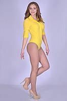 Яркая оригинальная женская блуза-боди желтого цвета