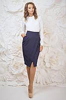 Деловая женская юбка синего цвета