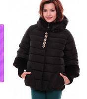 Стильная стеганная куртка с мехом и камнями