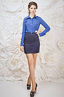 Стильная коротенькая женская юбка синего цвета