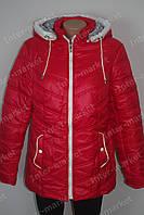 Демисезонная женская куртка батал на замке с капюшоном красная