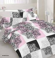 Комплект постельного белья сатин односпальный розовая шахматка