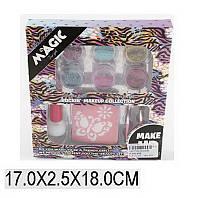 Детская косметика Тату h3003b трафарет,6 цв.блесков,кисточки,клей в коробке 17*3*18см