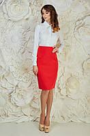 Оригинальная женская офисная юбка красного цвета