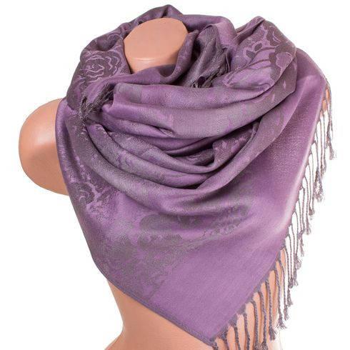 Великолепный женский двусторонний палантин из пашмины 180 на 71 см ETERNO ES2707-5-10 фиолетовый