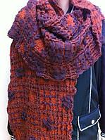Объёмный широкий шарф воздушного плетения