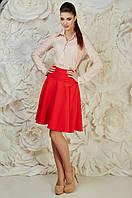 Молодежная женская нарядная юбка красного цвета