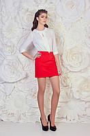 Молодежная коротенькая женская юбка красного цвета