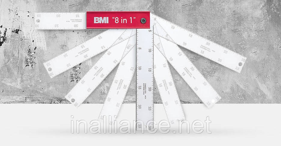 Столярный угольник, столярный угломер 300 мм х 120 мм, 8 в 1, BMI 716300162