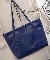 Большая женская сумка Cross Handle под крокодила темно синяя