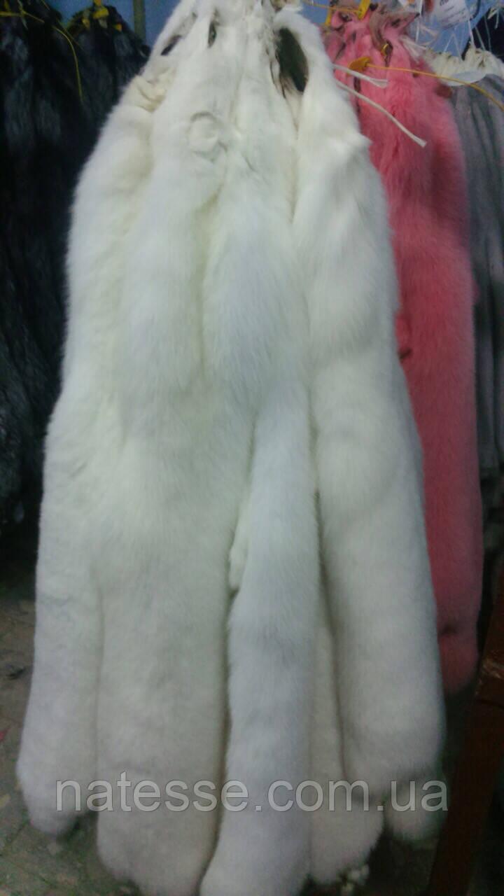 Мех шкурки финского белого песца альбиноса, полезная длина 80-85 см