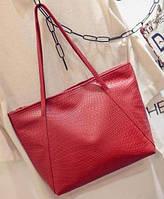 Большая женская сумка Cross Handle под крокодила красная