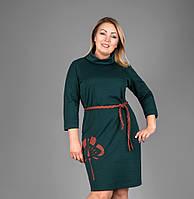 Симпатичное женское платье бутылочного цвета