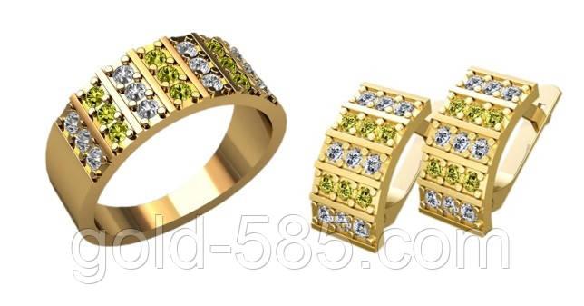 Стильный золотой ювелирный комплект 585  с мелкими камнями - Мастерская  ювелирных украшений «GOLD- a8ea954ab2f