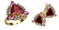 Замечательный женский золотой ювелирный комплект из красного золота 585* пробы